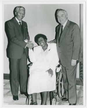 Primary view of object titled '[Portrait of Barbara Jordan, Nelson Mandela, and an Unidentified Man]'.