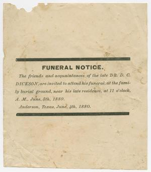 Primary view of object titled '[Funeral Notice for David C. Dickson]'.