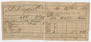 Primary view of object titled '[Freight Receipt from the Houston & Texas Central Railway Co. to David C. Dickson]'.