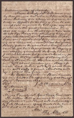 Primary view of [Emancipation Claim for Slaves of James Buchanan]
