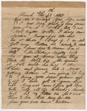 Primary view of object titled '[Letter from Daniel Dickson to his mother - March 27, 1861]'.