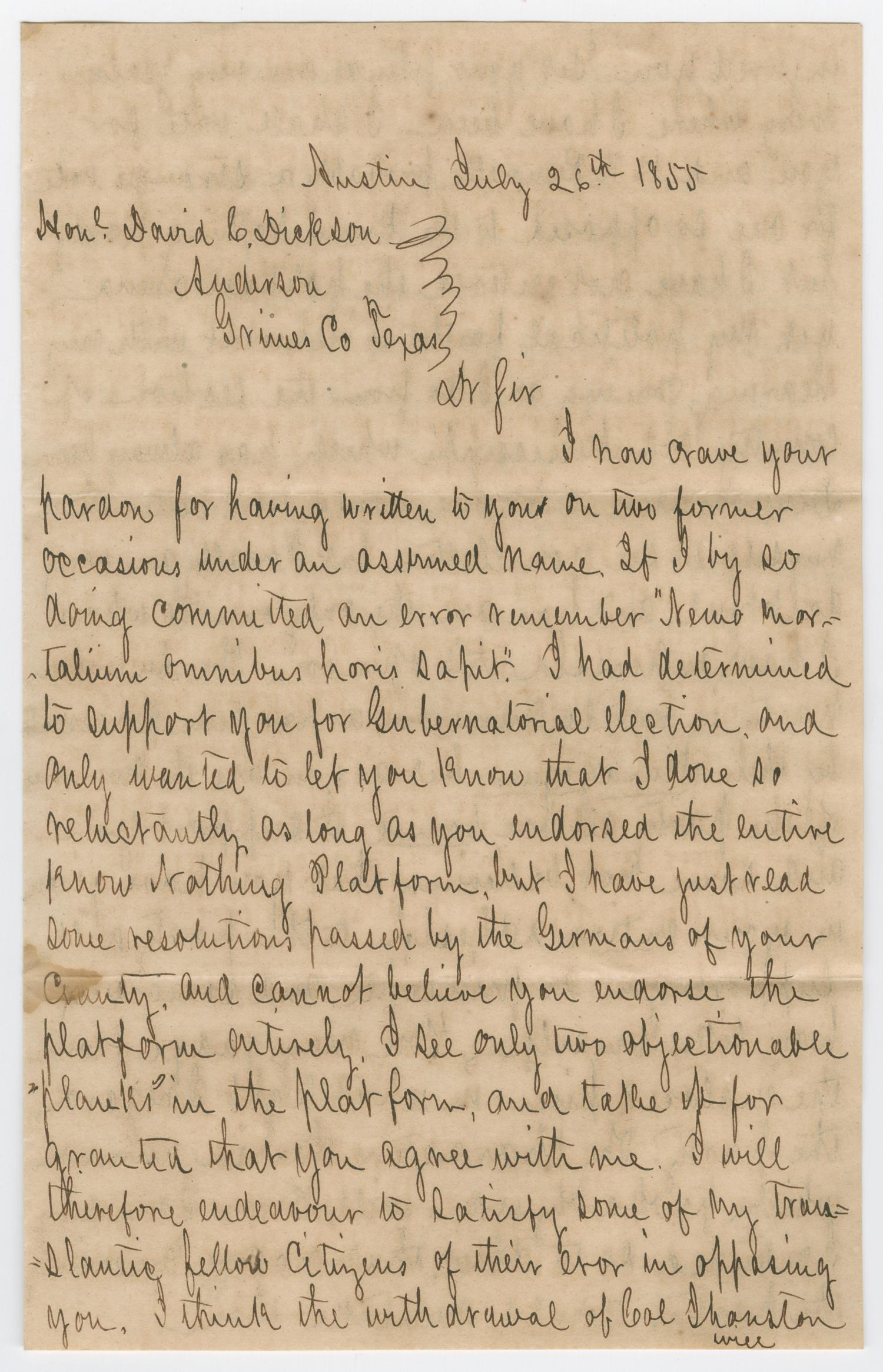 [Letter from Frank Gildant to David C. Dickson, July 26, 1855]                                                                                                      [Sequence #]: 1 of 3