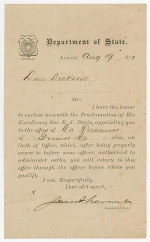 [Letter from James P. Newcomb to David Dickson, August 19, 1870]