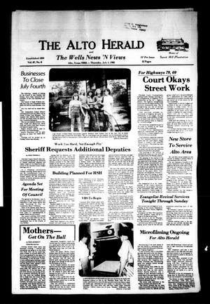 Primary view of object titled 'The Alto Herald and The Wells News 'N Views (Alto, Tex.), Vol. 87, No. 8, Ed. 1 Thursday, July 1, 1982'.