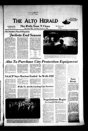 Primary view of object titled 'The Alto Herald and The Wells News 'N Views (Alto, Tex.), Vol. 87, No. 27, Ed. 1 Thursday, November 11, 1982'.