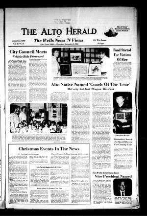Primary view of object titled 'The Alto Herald and The Wells News 'N Views (Alto, Tex.), Vol. 87, No. 31, Ed. 1 Thursday, December 9, 1982'.