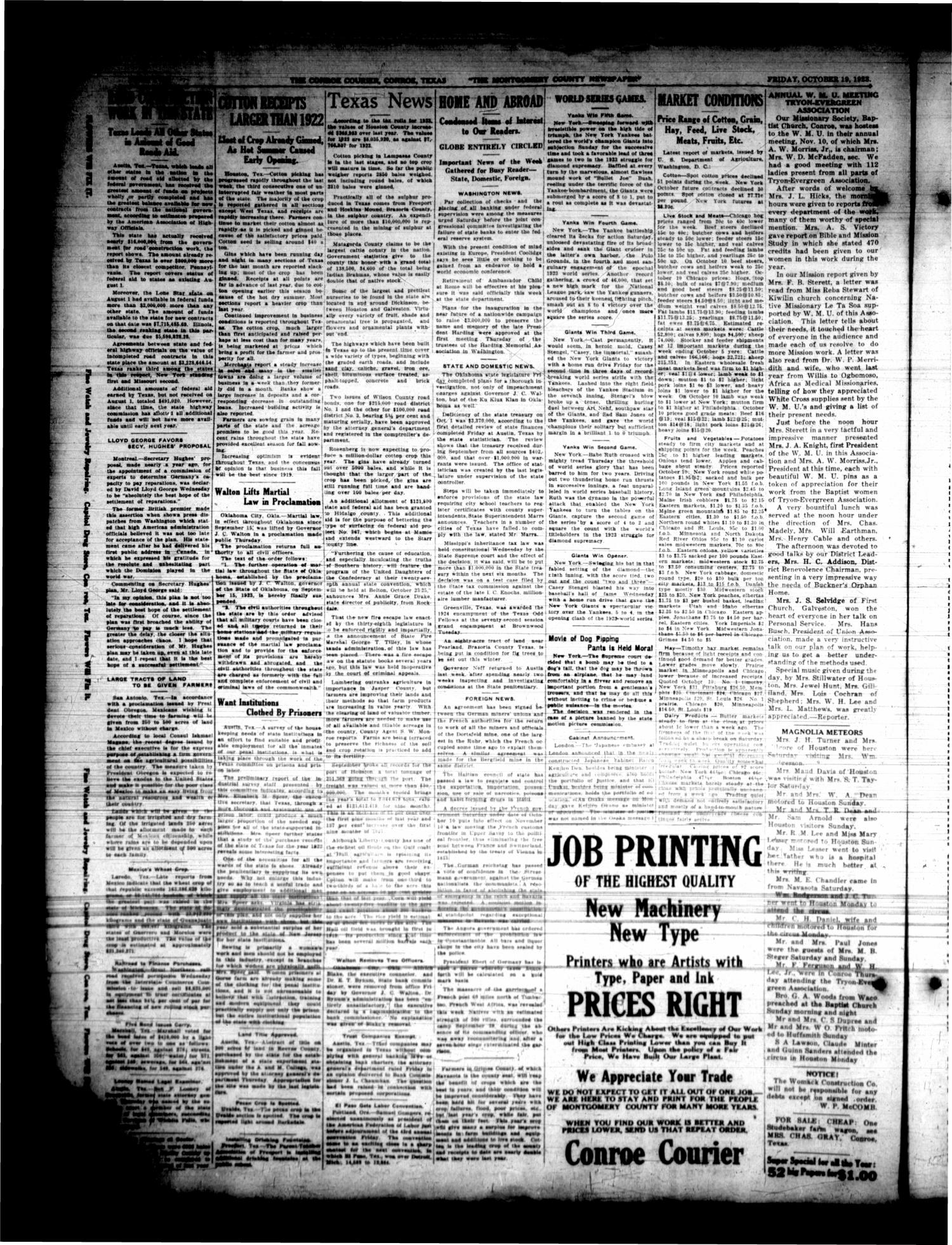 Conroe Courier (Conroe, Tex.), Vol. 31, No. 42, Ed. 1 Friday, October 19, 1923                                                                                                      [Sequence #]: 2 of 8