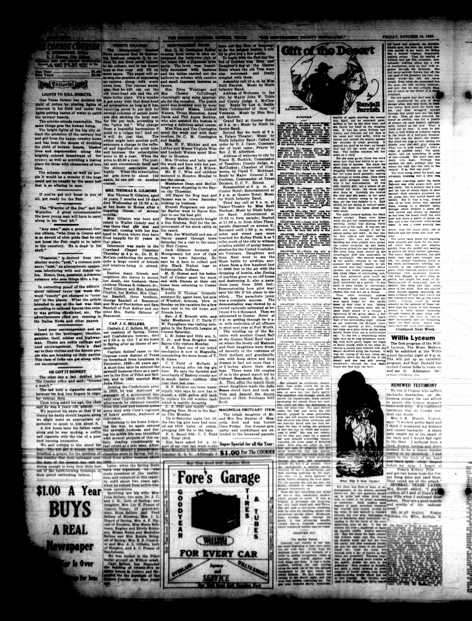 Conroe Courier (Conroe, Tex.), Vol. 31, No. 42, Ed. 1 Friday, October 19, 1923                                                                                                      [Sequence #]: 4 of 8
