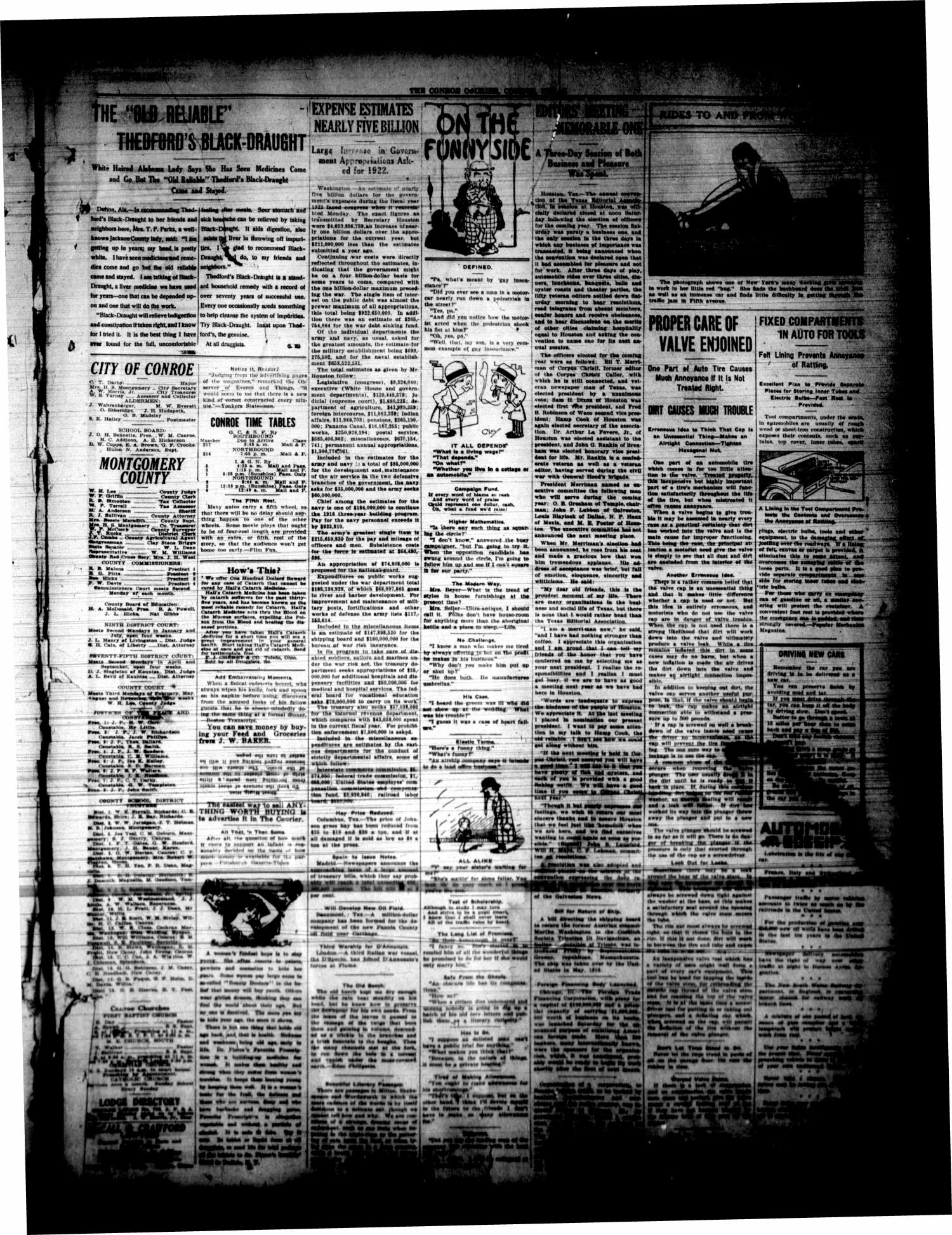 Conroe Courier (Conroe, Tex.), Vol. 28, No. 52, Ed. 1 Friday, December 17, 1920                                                                                                      [Sequence #]: 3 of 10