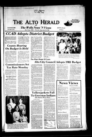Primary view of object titled 'The Alto Herald and The Wells News 'N Views (Alto, Tex.), Vol. 82, No. 19, Ed. 1 Thursday, September 16, 1982'.