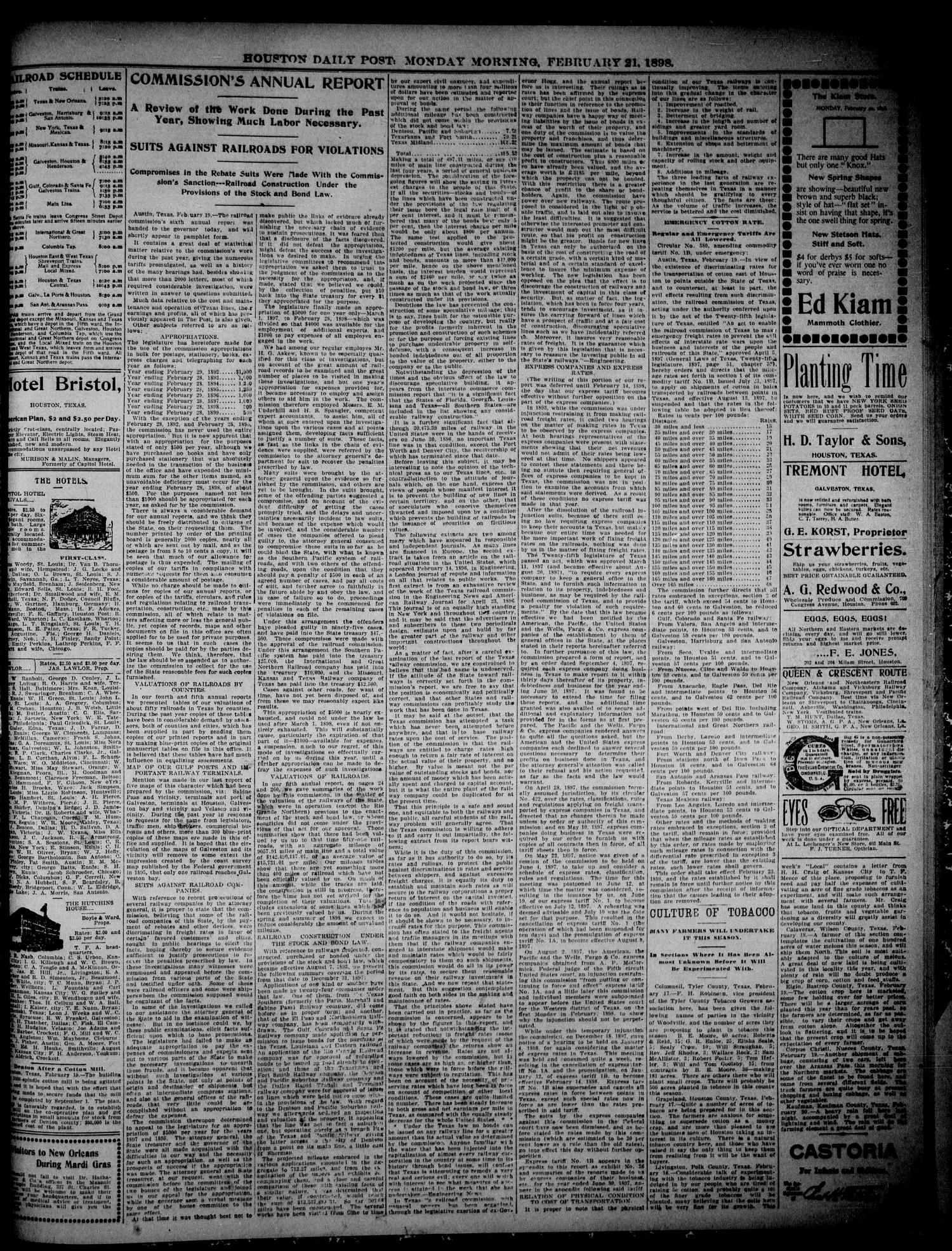 The Houston Daily Post (Houston, Tex.), Vol. THIRTEENTH YEAR, No. 323, Ed. 1, Monday, February 21, 1898                                                                                                      [Sequence #]: 3 of 8