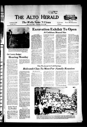 Primary view of object titled 'The Alto Herald and The Wells News 'N Views (Alto, Tex.), Vol. 87, No. 9, Ed. 1 Thursday, July 8, 1982'.