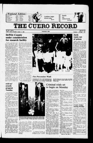 Primary view of object titled 'The Cuero Record (Cuero, Tex.), Vol. 90, No. 82, Ed. 1 Saturday, October 11, 1986'.