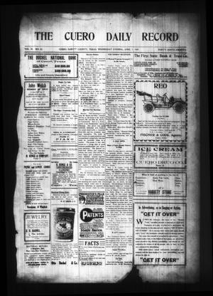 Primary view of object titled 'The Cuero Daily Record (Cuero, Tex.), Vol. 29, No. 82, Ed. 1 Wednesday, April 7, 1909'.