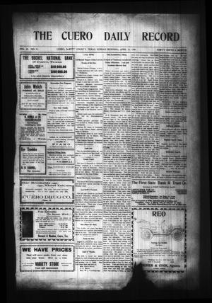 Primary view of object titled 'The Cuero Daily Record (Cuero, Tex.), Vol. 29, No. 91, Ed. 1 Sunday, April 18, 1909'.