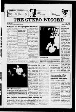 Primary view of object titled 'The Cuero Record (Cuero, Tex.), Vol. 90, No. 76, Ed. 1 Saturday, September 20, 1986'.