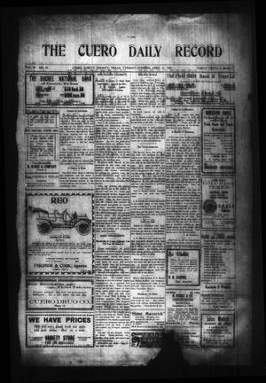 Primary view of object titled 'The Cuero Daily Record (Cuero, Tex.), Vol. 29, No. 99, Ed. 1 Tuesday, April 27, 1909'.