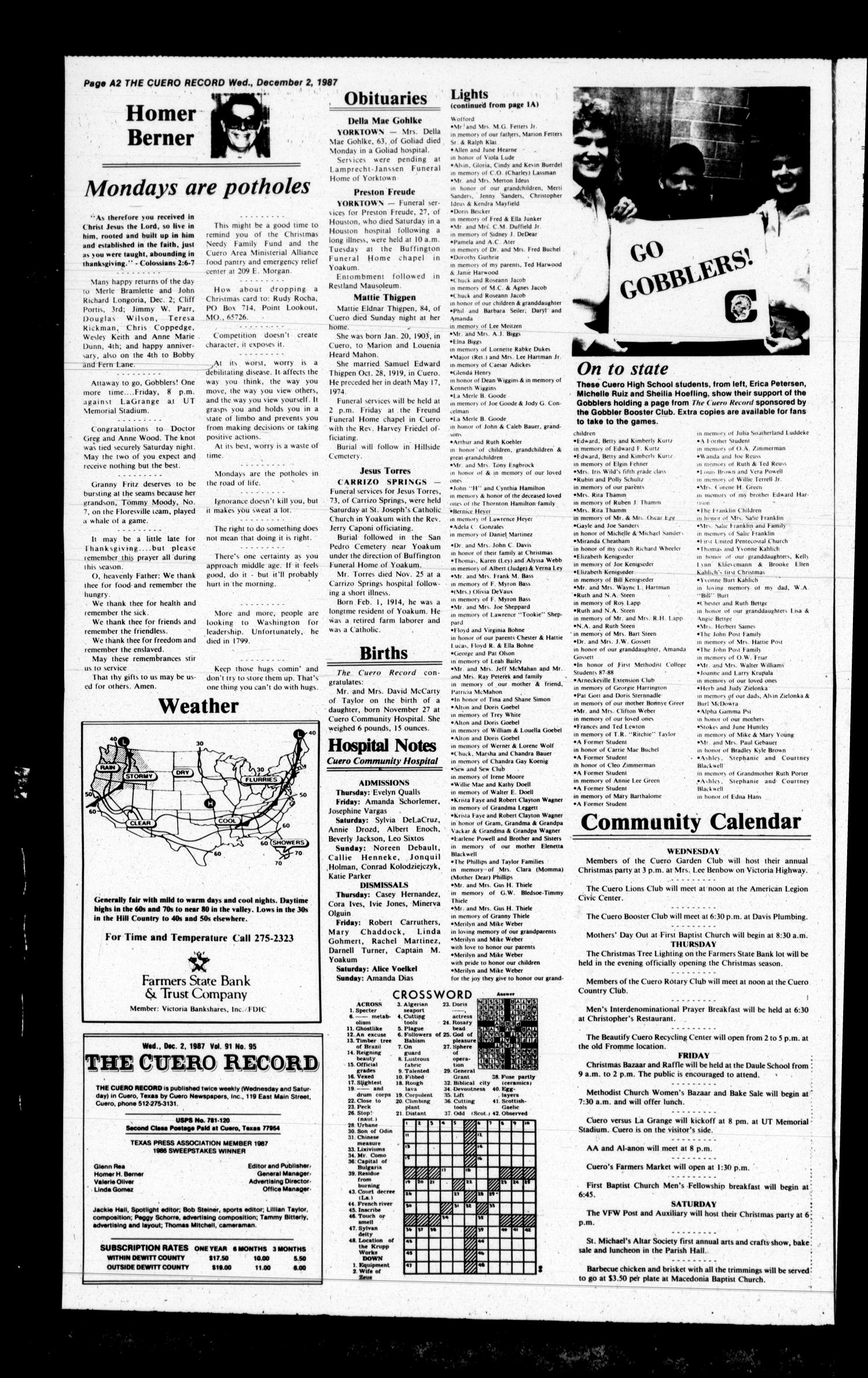 The Cuero Record (Cuero, Tex.), Vol. 91, No. 95, Ed. 1 Wednesday, December 2, 1987                                                                                                      [Sequence #]: 2 of 22