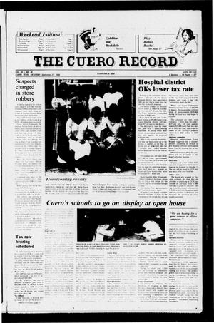 Primary view of object titled 'The Cuero Record (Cuero, Tex.), Vol. 90, No. 78, Ed. 1 Saturday, September 27, 1986'.