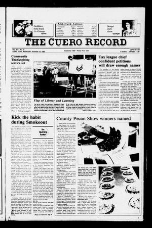 Primary view of object titled 'The Cuero Record (Cuero, Tex.), Vol. 90, No. 93, Ed. 1 Wednesday, November 19, 1986'.