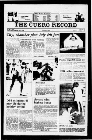 Primary view of object titled 'The Cuero Record (Cuero, Tex.), Vol. 90, No. 53, Ed. 1 Wednesday, July 2, 1986'.