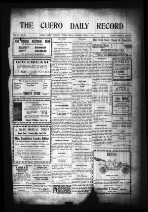 Primary view of object titled 'The Cuero Daily Record (Cuero, Tex.), Vol. 29, No. 84, Ed. 1 Friday, April 9, 1909'.