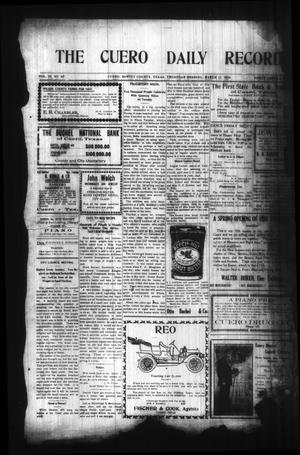 Primary view of object titled 'The Cuero Daily Record (Cuero, Tex.), Vol. 29, No. 59, Ed. 1 Thursday, March 11, 1909'.