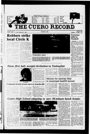 Primary view of object titled 'The Cuero Record (Cuero, Tex.), Vol. 90, No. 77, Ed. 1 Wednesday, September 24, 1986'.