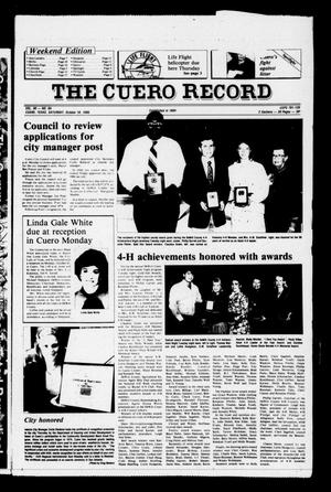Primary view of object titled 'The Cuero Record (Cuero, Tex.), Vol. 90, No. 84, Ed. 1 Saturday, October 18, 1986'.