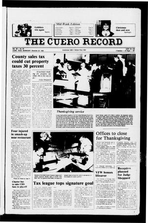 Primary view of object titled 'The Cuero Record (Cuero, Tex.), Vol. 90, No. 95, Ed. 1 Wednesday, November 26, 1986'.