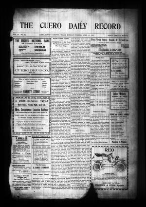 Primary view of object titled 'The Cuero Daily Record (Cuero, Tex.), Vol. 29, No. 86, Ed. 1 Monday, April 12, 1909'.