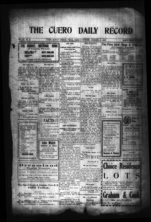 Primary view of object titled 'The Cuero Daily Record (Cuero, Tex.), Vol. 29, No. 15, Ed. 1 Tuesday, January 19, 1909'.