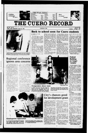 Primary view of object titled 'The Cuero Record (Cuero, Tex.), Vol. 90, No. 67, Ed. 1 Wednesday, August 20, 1986'.