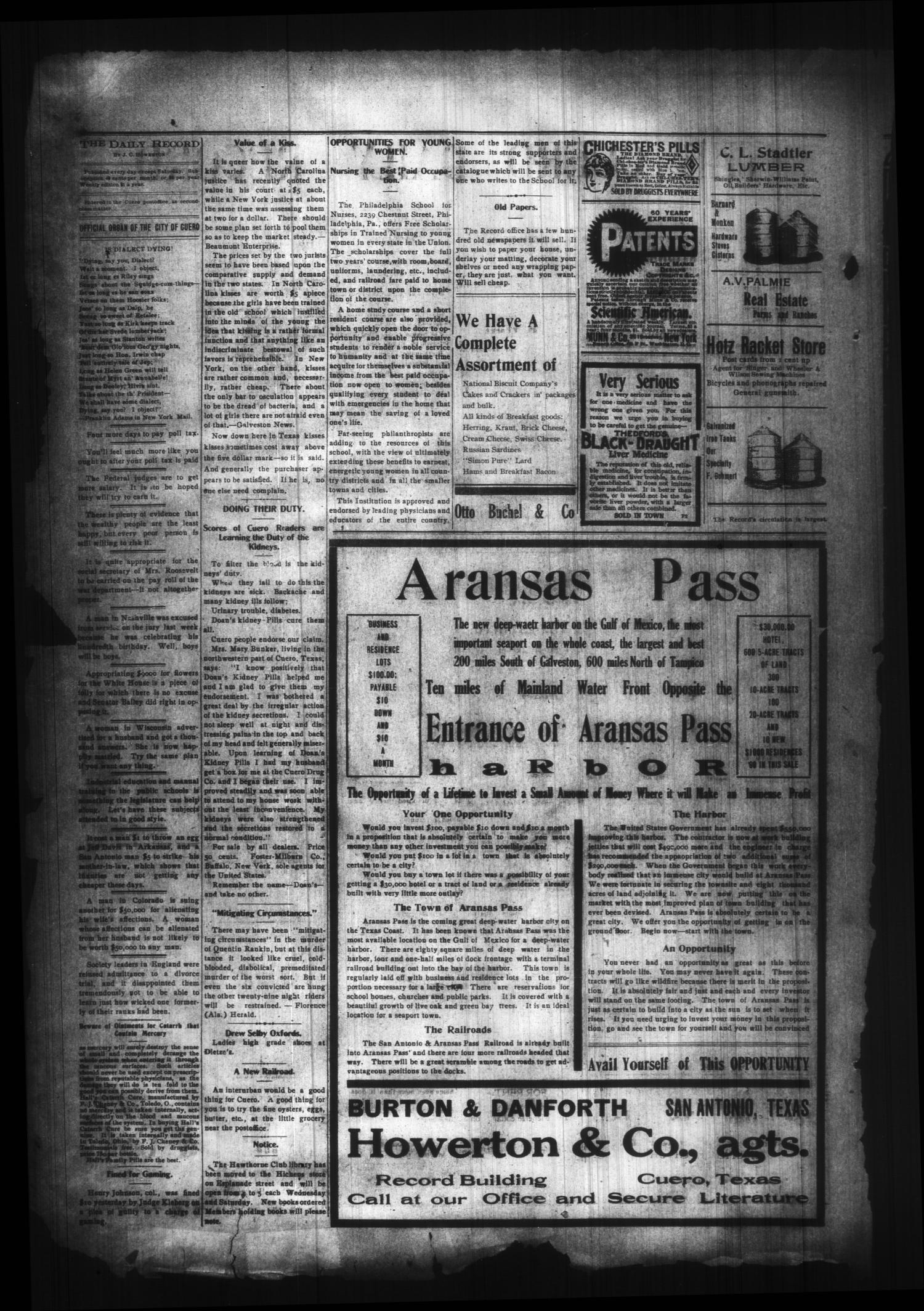 The Cuero Daily Record (Cuero, Tex.), Vol. 29, No. 21, Ed. 1 Tuesday, January 26, 1909                                                                                                      [Sequence #]: 2 of 4