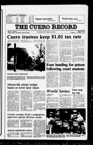 Primary view of object titled 'The Cuero Record (Cuero, Tex.), Vol. 91, No. 64, Ed. 1 Saturday, August 15, 1987'.