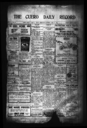 Primary view of object titled 'The Cuero Daily Record (Cuero, Tex.), Vol. 29, No. 94, Ed. 1 Wednesday, April 21, 1909'.