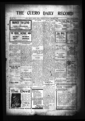 Primary view of object titled 'The Cuero Daily Record (Cuero, Tex.), Vol. 29, No. 5, Ed. 1 Thursday, January 7, 1909'.