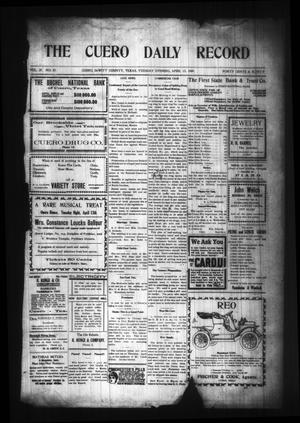 Primary view of object titled 'The Cuero Daily Record (Cuero, Tex.), Vol. 29, No. 87, Ed. 1 Tuesday, April 13, 1909'.