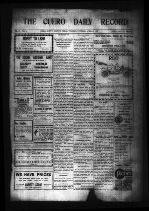 Primary view of object titled 'The Cuero Daily Record (Cuero, Tex.), Vol. 29, No. 95, Ed. 1 Thursday, April 22, 1909'.