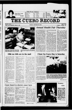 Primary view of object titled 'The Cuero Record (Cuero, Tex.), Vol. 90, No. 85, Ed. 1 Wednesday, October 22, 1986'.