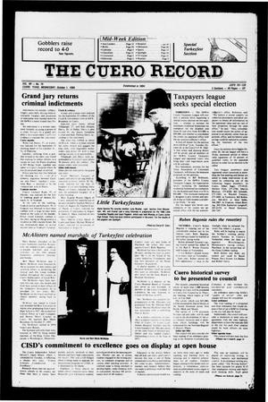Primary view of object titled 'The Cuero Record (Cuero, Tex.), Vol. 90, No. 79, Ed. 1 Wednesday, October 1, 1986'.