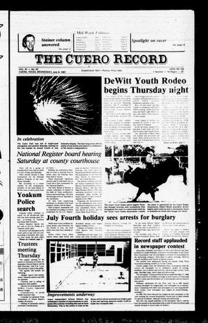 Primary view of object titled 'The Cuero Record (Cuero, Tex.), Vol. 91, No. 53, Ed. 1 Wednesday, July 8, 1987'.