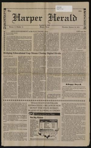 Primary view of object titled 'The Harper Herald (Harper, Tex.), Vol. 70, No. 51, Ed. 1 Thursday, January 18, 2001'.