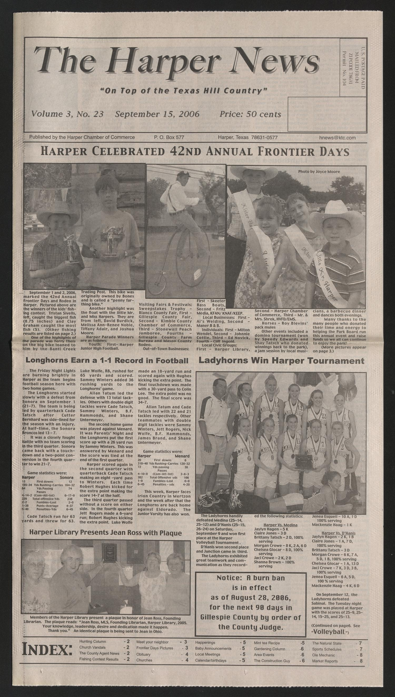 The Harper News (Harper, Tex.), Vol. 3, No. 23, Ed. 1 Friday, September 15, 2006                                                                                                      [Sequence #]: 1 of 8