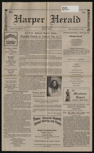 Primary view of object titled 'The Harper Herald (Harper, Tex.), Vol. 70, No. 71, Ed. 1 Thursday, June 21, 2001'.