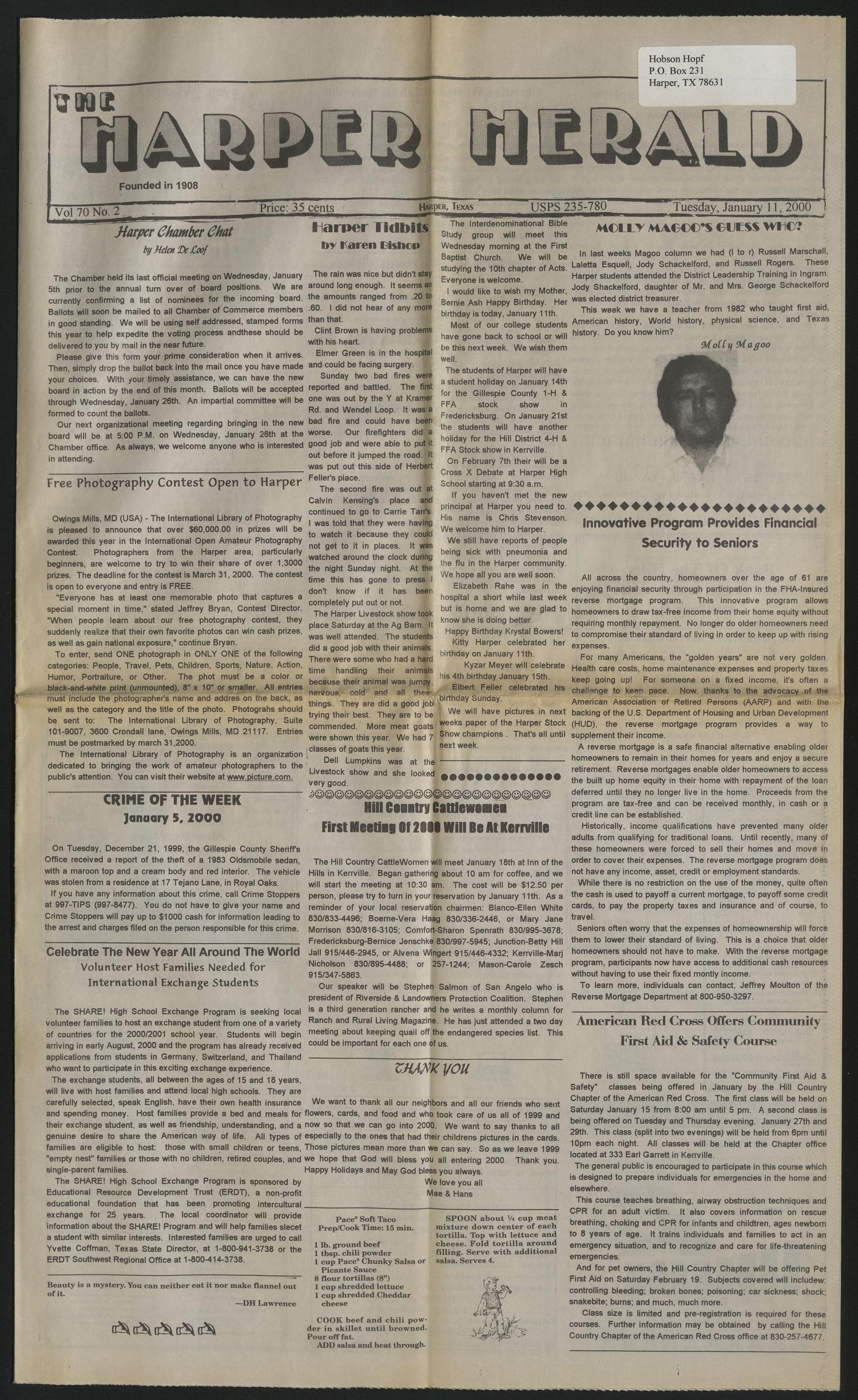 The Harper Herald (Harper, Tex.), Vol. 70, No. 2, Ed. 1 Tuesday, January 11, 2000                                                                                                      [Sequence #]: 1 of 8