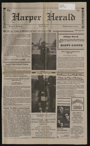 Primary view of object titled 'The Harper Herald (Harper, Tex.), Vol. 70, No. 62, Ed. 1 Thursday, April 12, 2001'.