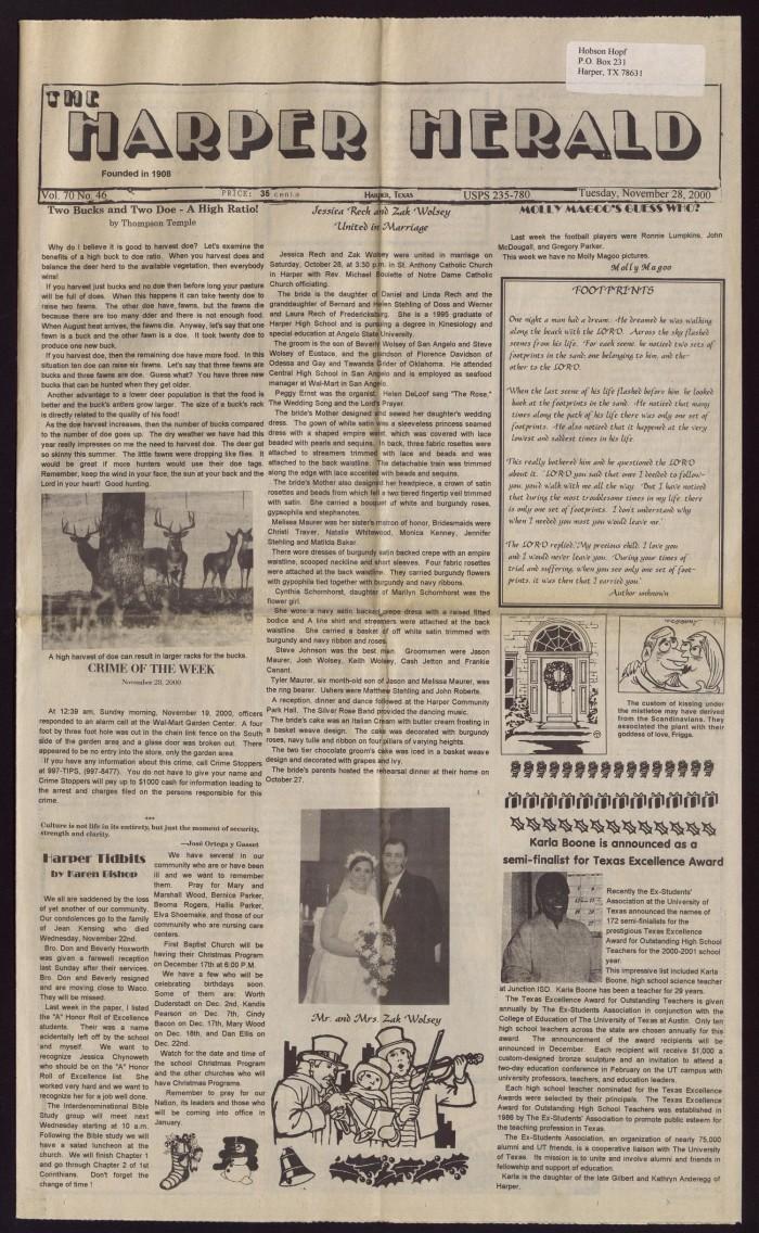 The Harper Herald (Harper, Tex ), Vol  70, No  46, Ed  1