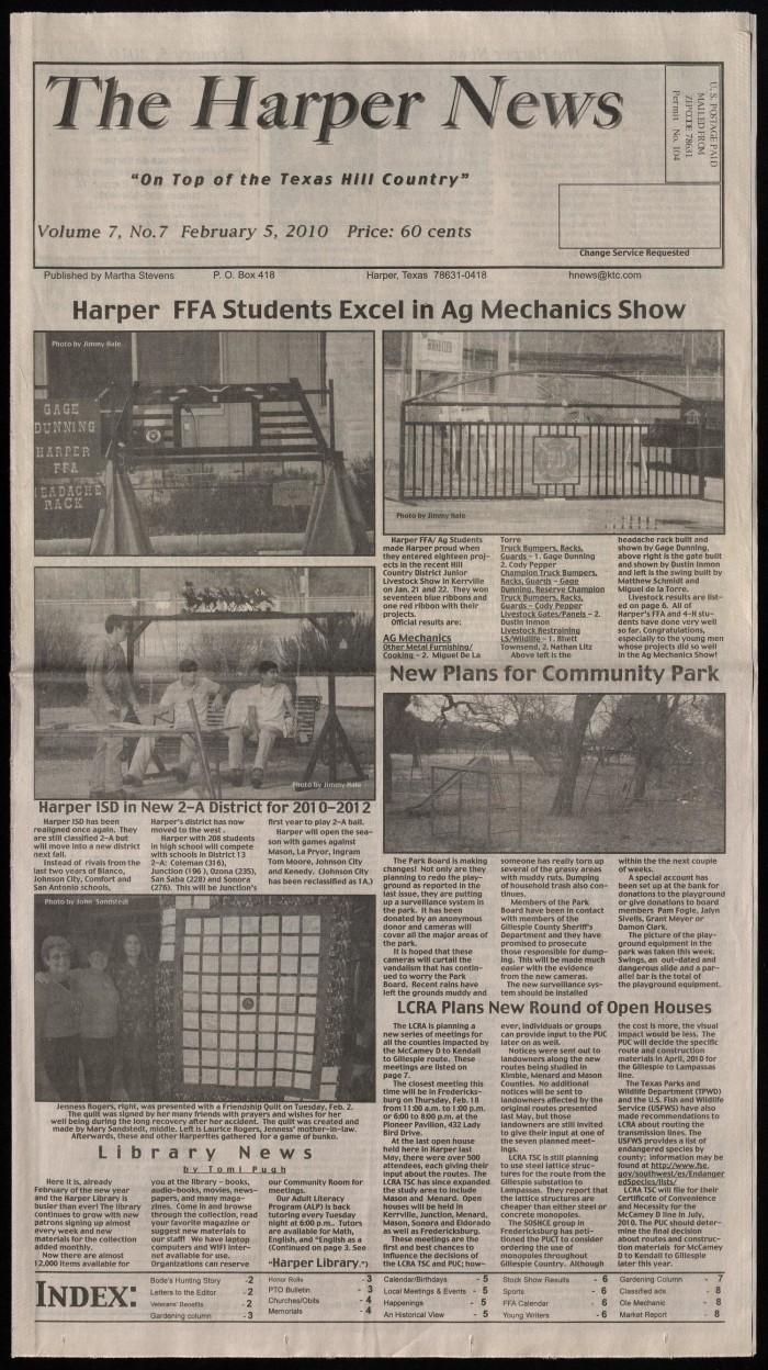 The Harper News (Harper, Tex ), Vol  7, No  7, Ed  1 Friday