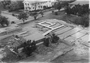 Primary view of object titled '[Aerial View of the Foundation of Shelton Chapel]'.